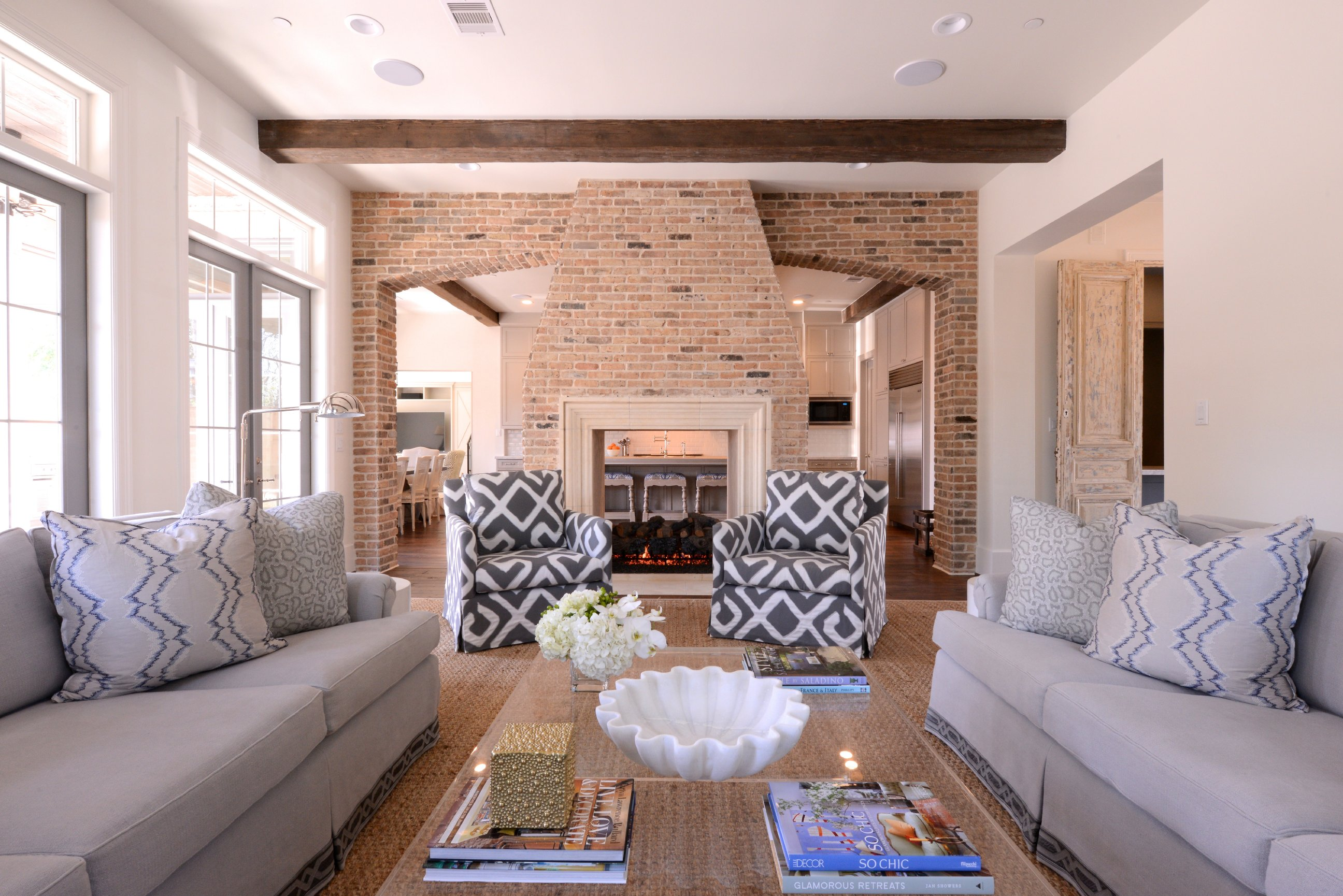 Living Room With Two Couches I like the white and gray but I
