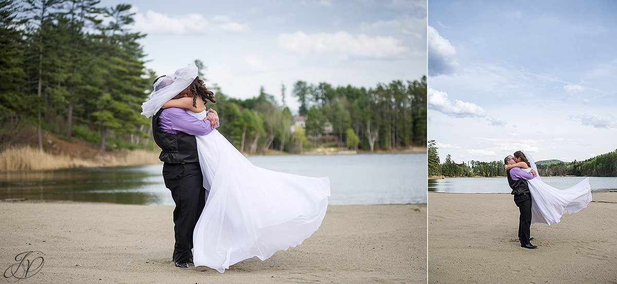 candid photo of bride and groom on beach
