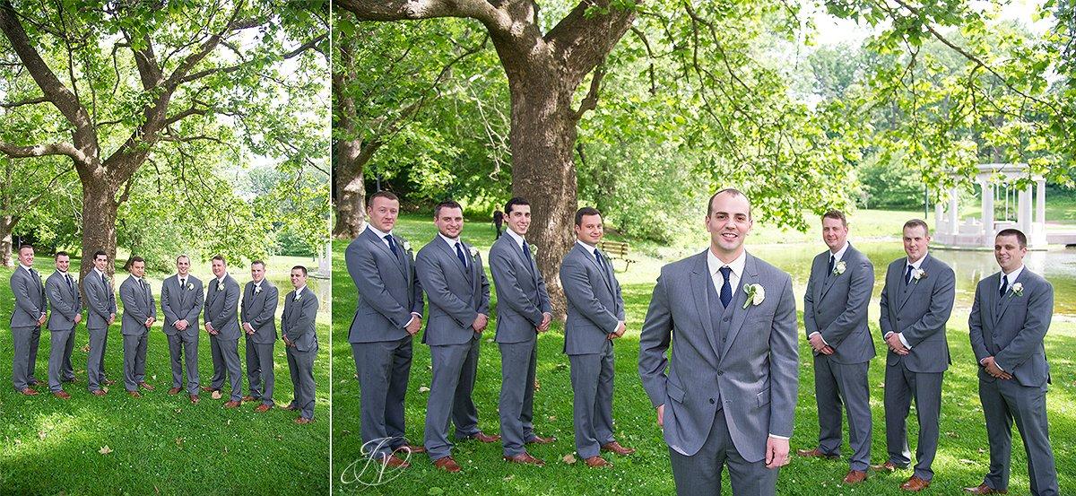 unique shot of groomsmen in congress park saratoga springs