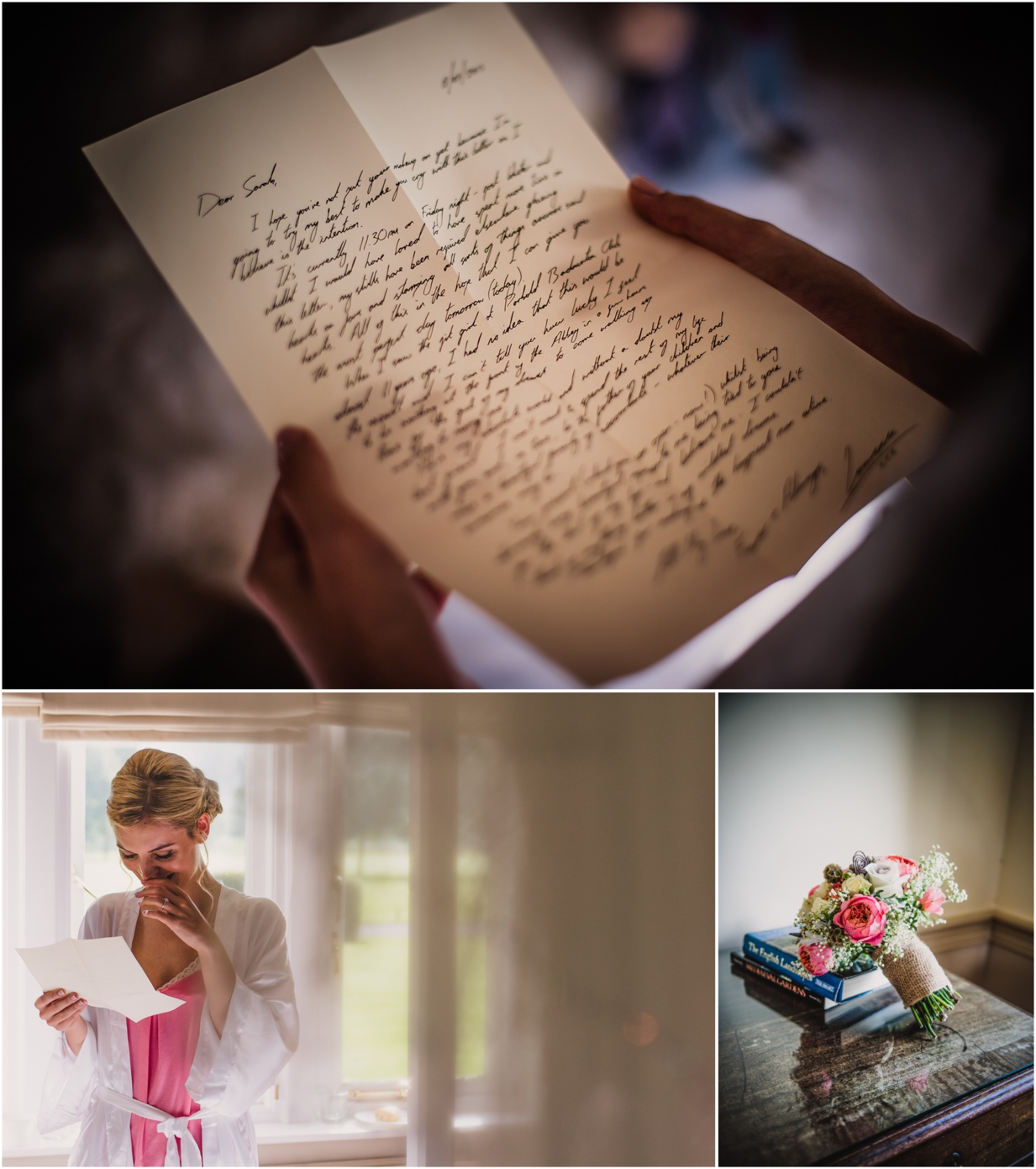 bride reading the letter her husband to be wrote