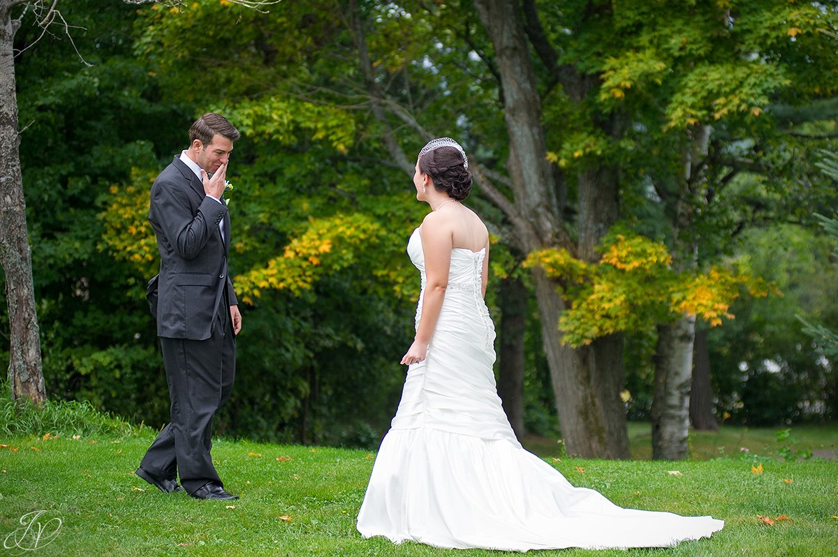 emotional first look photos lake placid wedding photographer