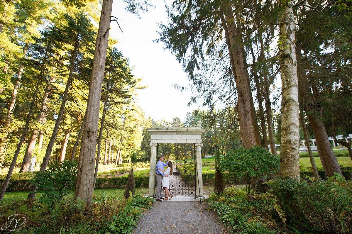 engagement photo in yaddo gardens, saratoga portrait photographer