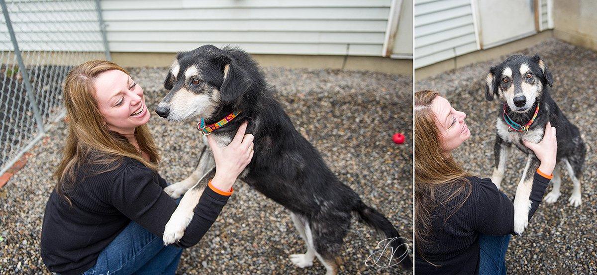 woman holding rescued dog, regional animal shelter, dog rescue photo, rescued dog photo, canine skin disease photo