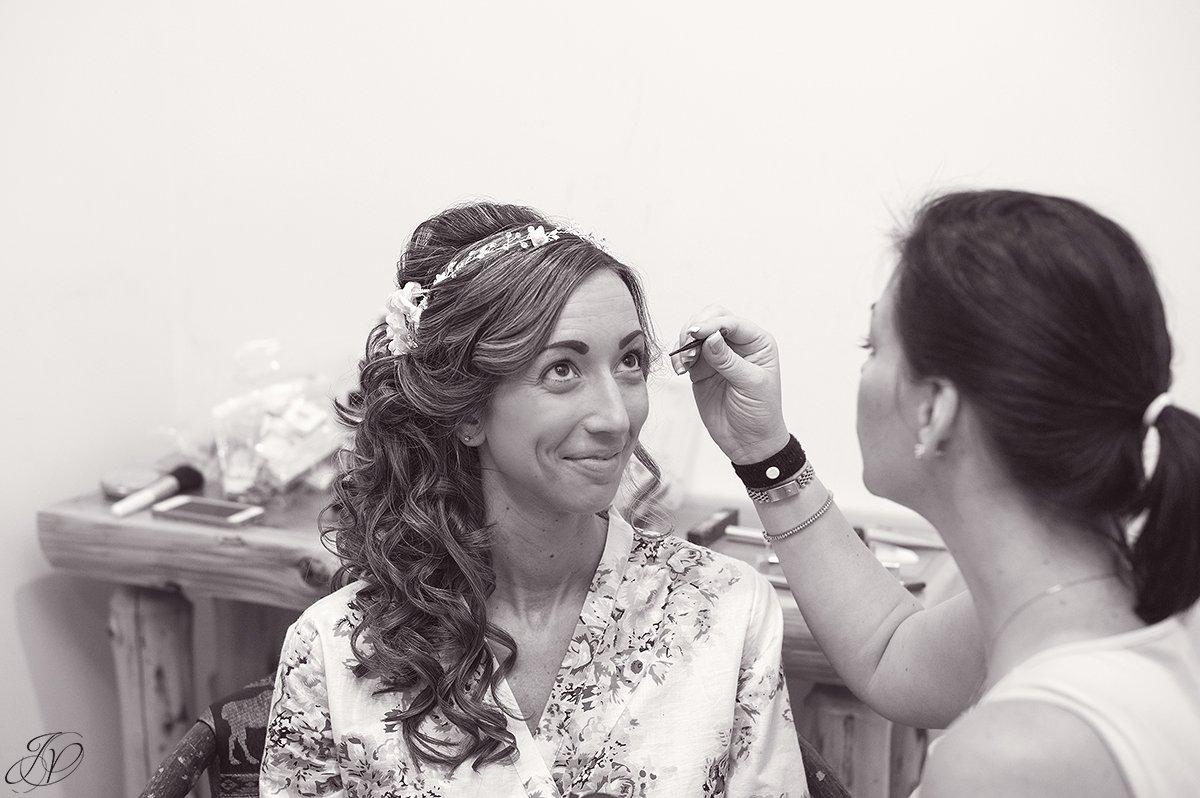 bride getting ready robe lake placid wedding