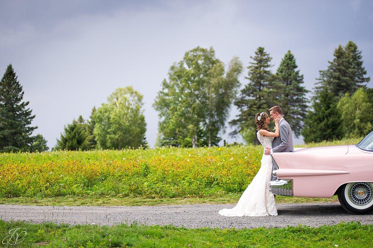 bride and groom portrait vintage car thunderstorm