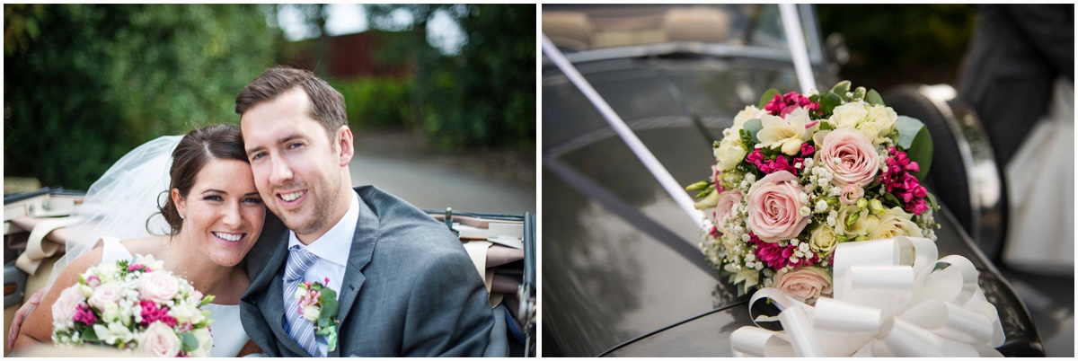 Lancashire manor wedding couple in car