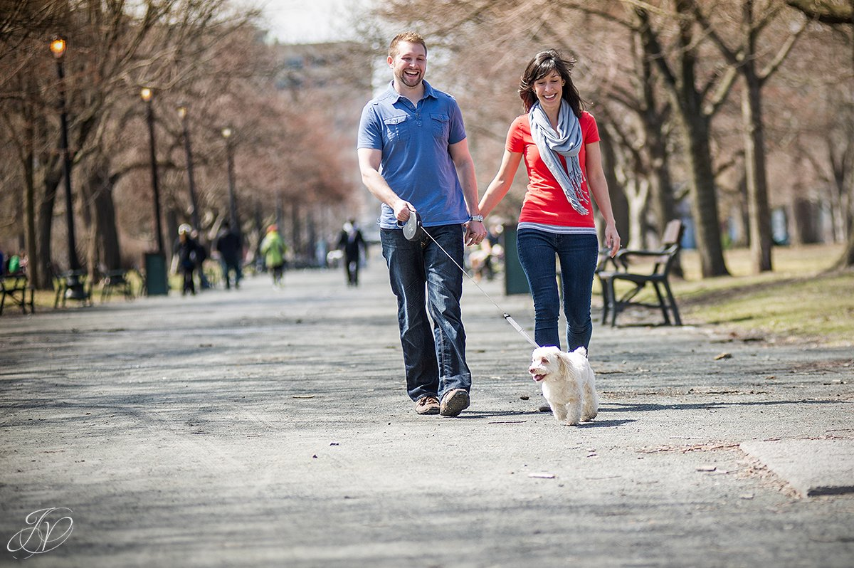 young couple walking dog in park, engagement photos at washington park albany, albany engagement photography, downtown engagement session, albany portrait photography, engagement session in washington park