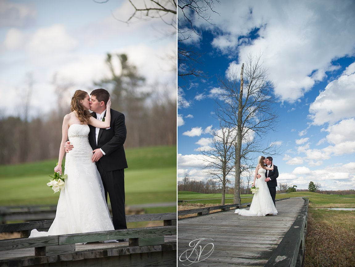 blue skies wedding, bride and groom candid, bride and groom on bridge photo, Saratoga National Golf Club wedding, Saratoga Wedding Photographer, wedding photographer saratoga ny