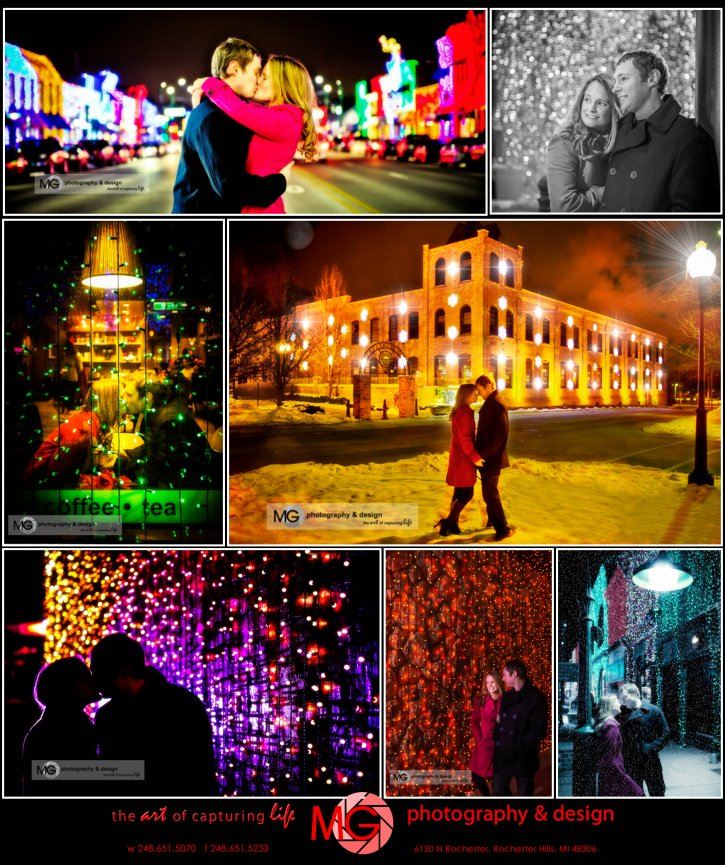 Rochester Michigan engagement, Winter engagement, Rochester Holiday lightshow, Downtown Rochester portraits, Oakland county Engagement session, Metro Detroit Best Wedding Photographer