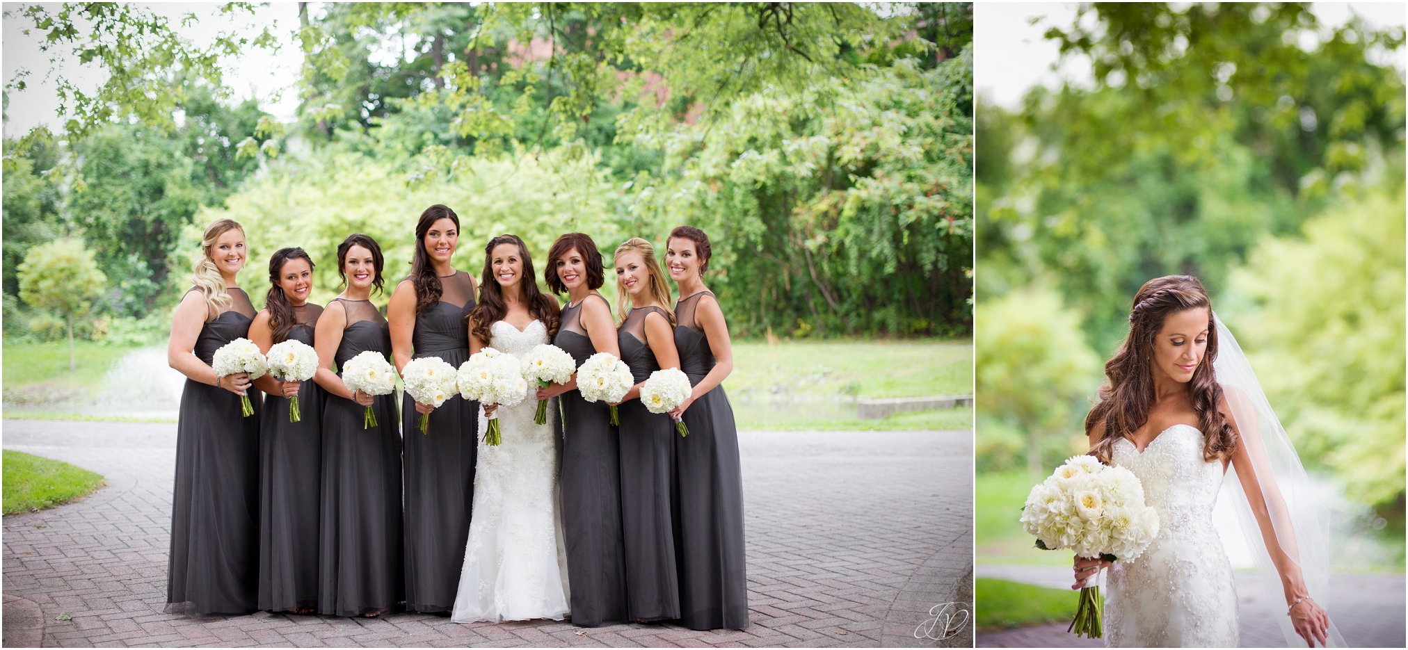 bride and bridesmaids in grey dresses