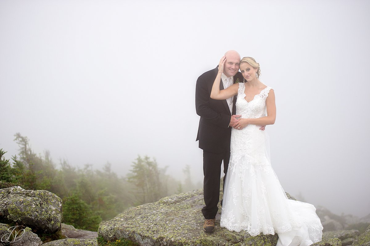 bride and groom whiteface mountain fog bridal portrait
