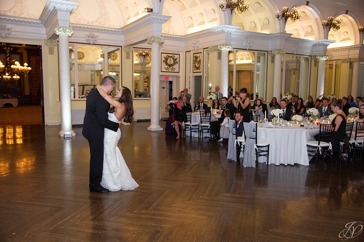 bride and groom first dance at wedding reception canfield casino