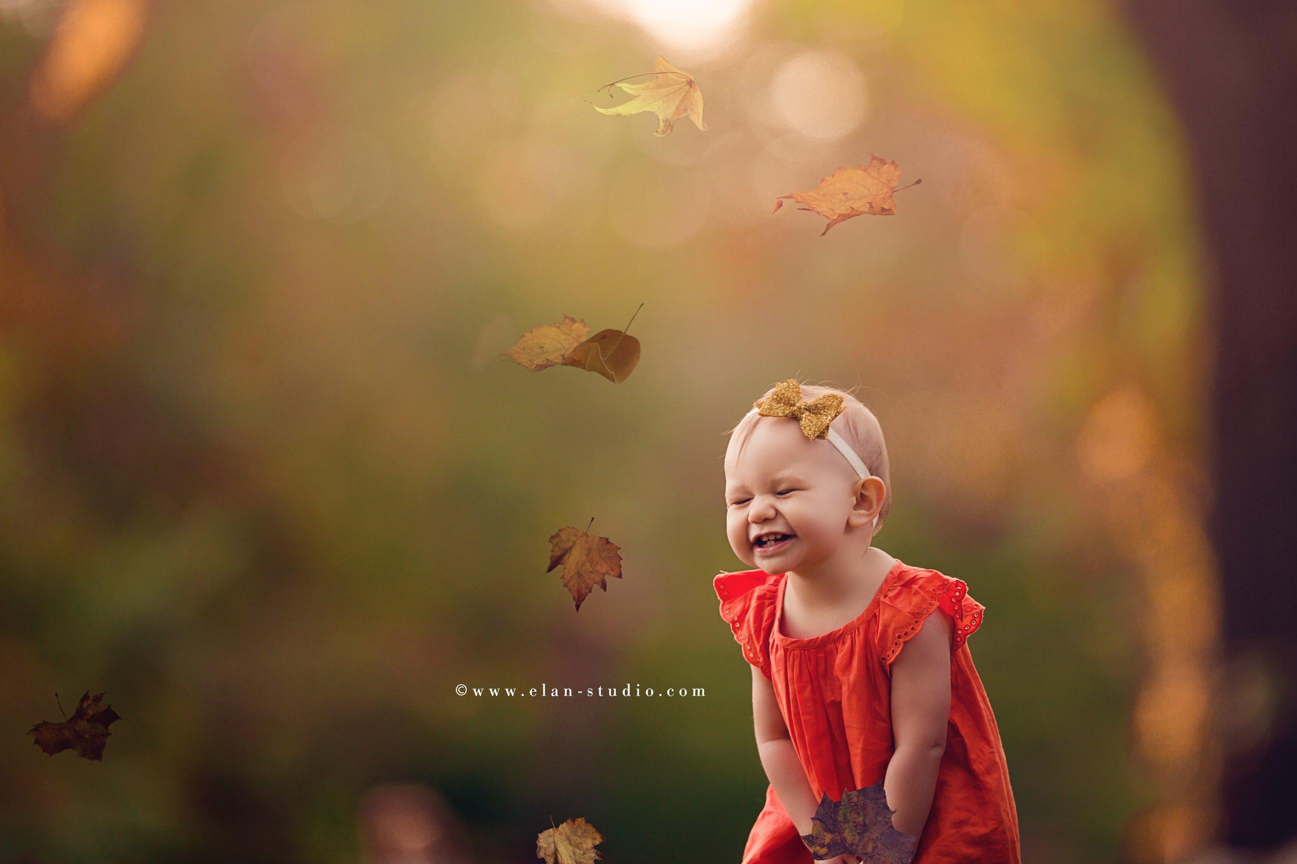 fall portrait, toddler, Rhode Island, autumn leaves, orange dress