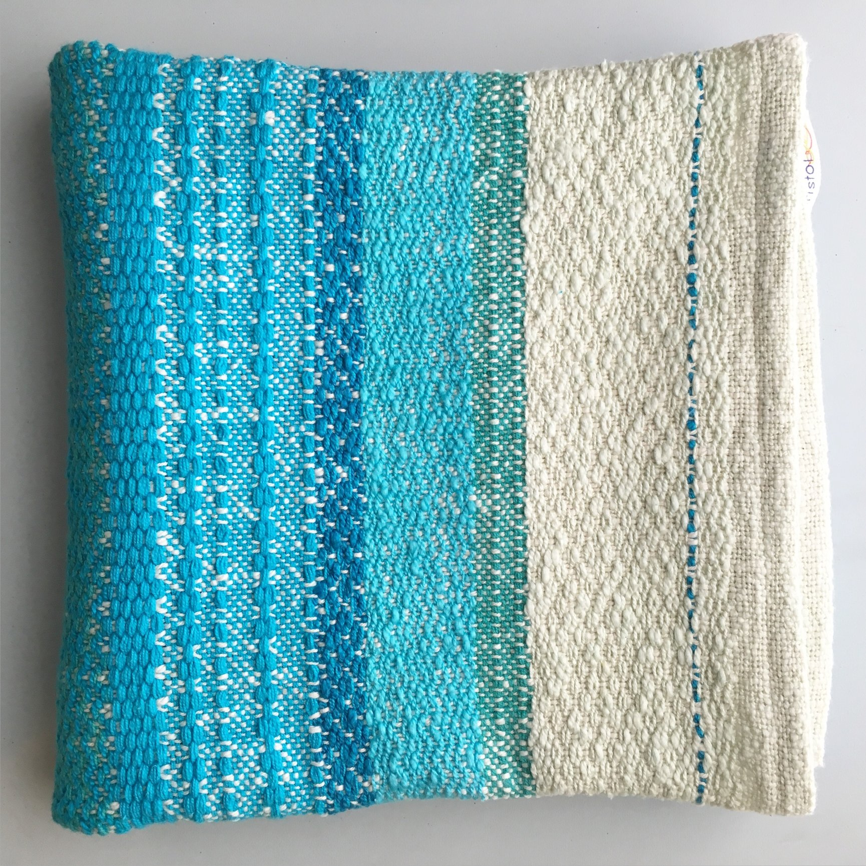 Bristol Looms dish towel in blues and creams