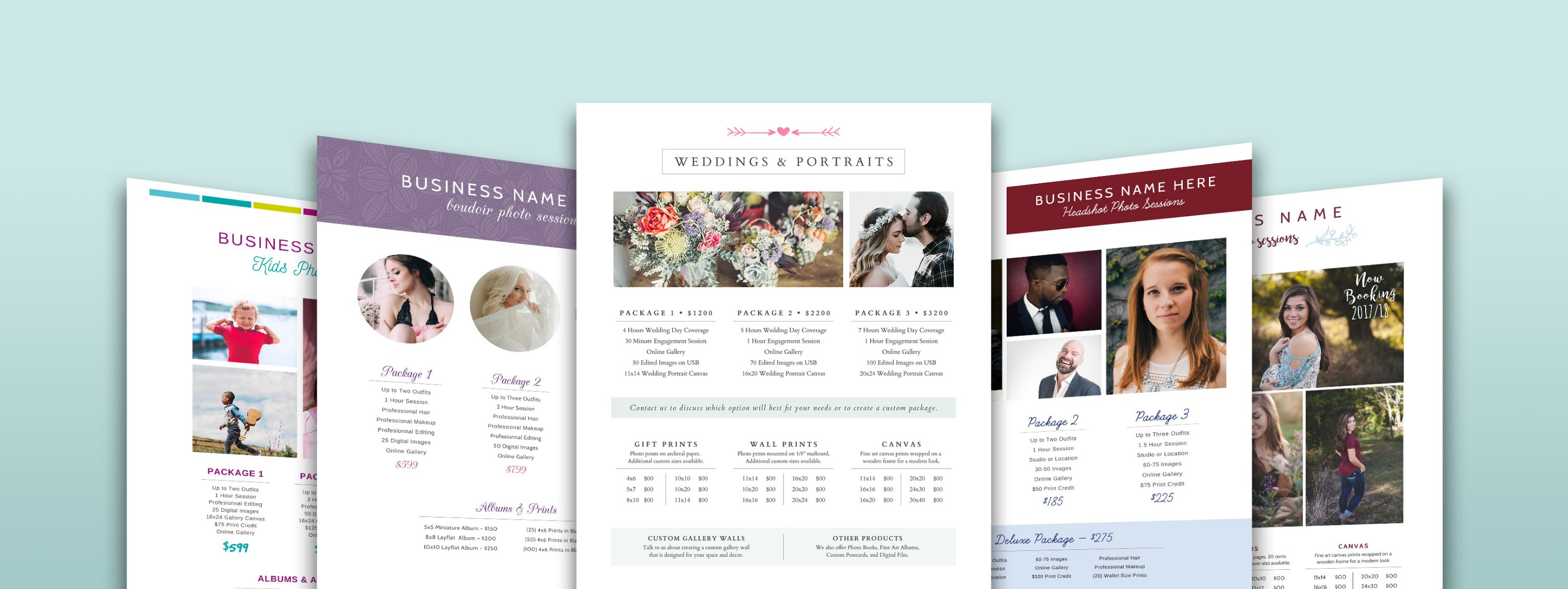 snag this bundle of 18 price sheet templates that you can customize for your photography business created with love for our photobiz friends family