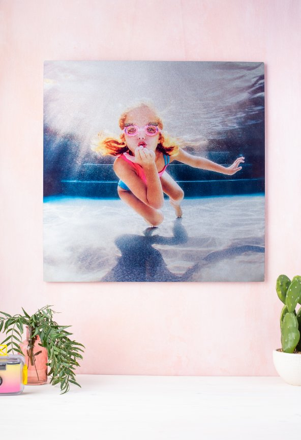 canvas wall art, girl blowing kisses underwater, eyelash goggles, cactus, pink wall